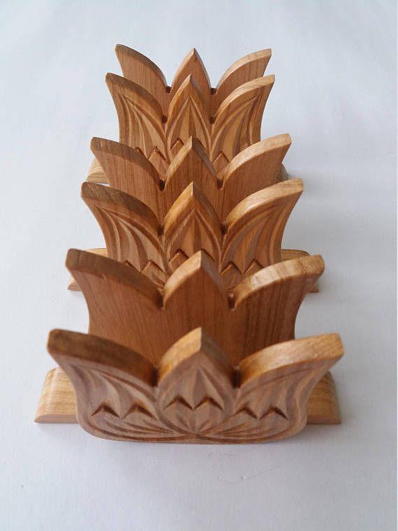 Servilletero de madera de cerezo hecho a mano especial Handcarved set tulip servilleta titular de regalo para mujeres, hombres, chica, Portarollos, accesorios para la mesa rústica