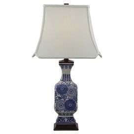 """Cast a warm glow in your entryway or den with this Asian-inspired ceramic table lamp, showcasing a flared base and floral motif.   Product: Table lampConstruction Material: Ceramic and fabricColor: Off-white and midnight blueFeatures:  Flared baseFloral motifSingle detent switch for high efficiency compact fluorescent bulbsClipped corner square bottom shade Accommodates: (1) CFL bulb - not includedDimensions: 28"""" H x 15"""" W x 15"""" D"""