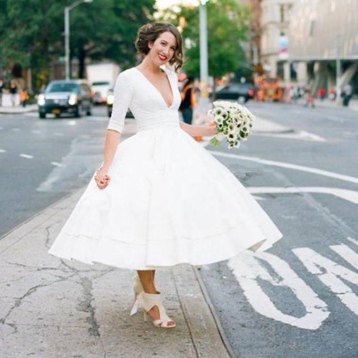 1950s wedding dresses tea length deep v neck half sleeves