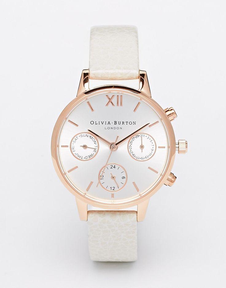 Olivia Burton Midi Dial Chronograph Detail Leather Strap Watch