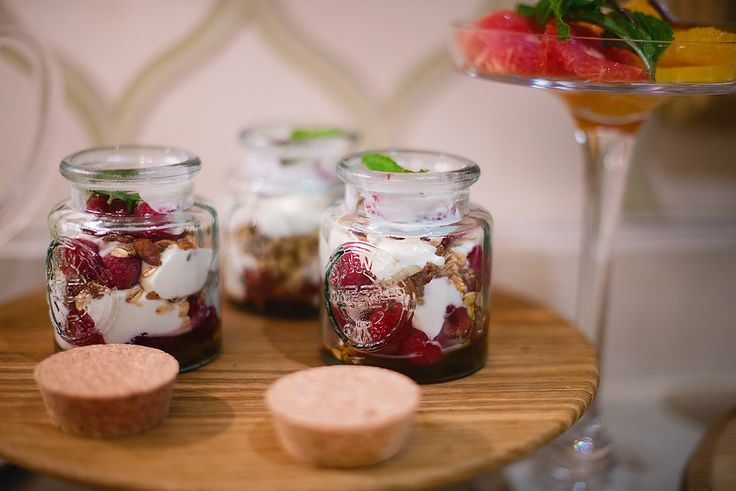 Fresh Bulgarian yoghurt, muesli and mixed berry breakfast pots with fresh mint and honey. Browse more of the breakfast gallery on our website
