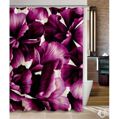 Violet Purple Floral Pattern custom Shower Curtain