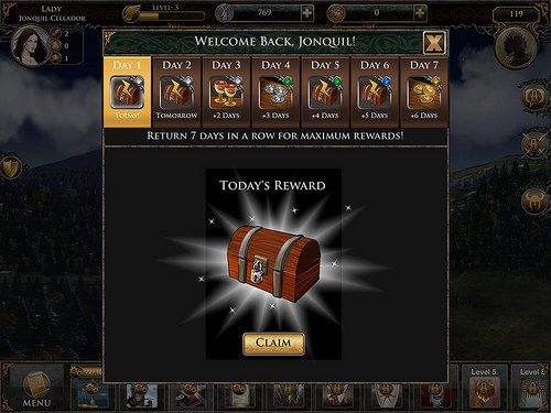 Game of Thrones Ascent Daily Reward: screenshots, UI