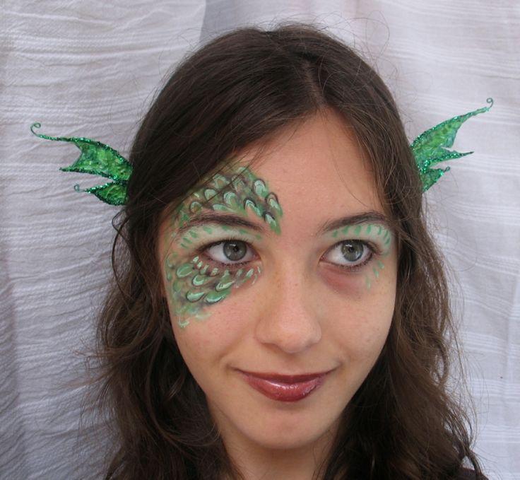 frau schminken drache augen make up grün  #fasching #carnival
