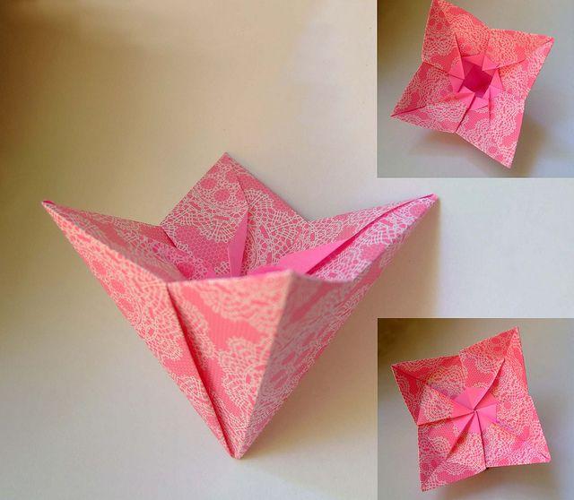 origami pink flower box evi bizinger origami