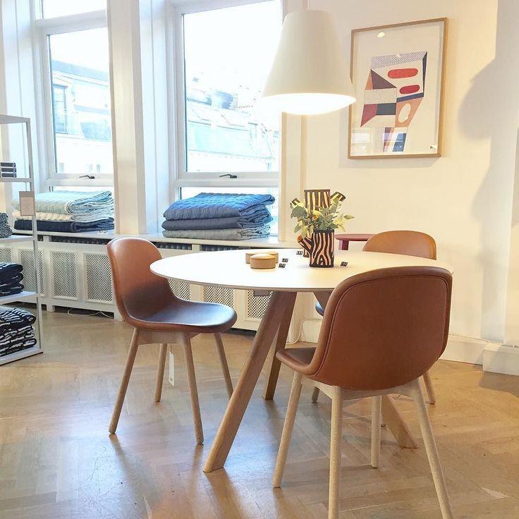Neu chair i cognac skinn og Cph table round. #hay #neuchair #hayhousecopenhagen #haydesign #haynorge by haynorge