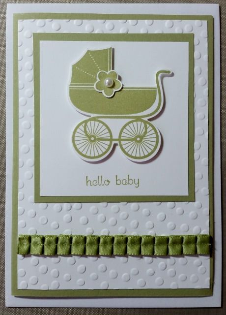 General Baby Card - using Something for Baby Stamp Set and Dies, Decorative Dots Embossing Folder, CS and ribbon (retired) all from Stampin' Up!