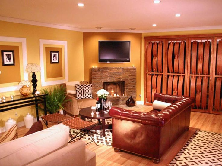 Popular Colors For Family Rooms Part - 49: Orange Living Room Wall Decoration Ideas: Excellent Awesome Living Room  Idea With One Brown Sofa Orange Color Theme For Wall Small Round Table Big  Led Tv