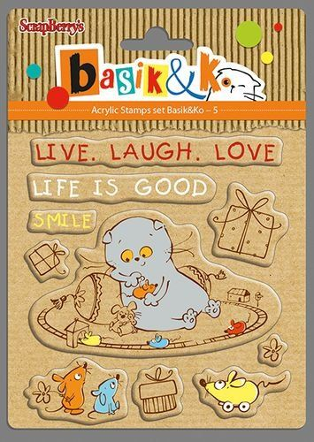 ScrapBerry's Set Of Clear Stamps 10,5x10,5 cm Basik Live Laugh Love (SCB4903005)
