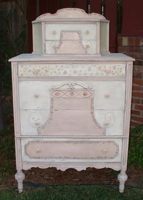 Pink and ivory cabinet-top dresser with splashboard; 1910-1930s.