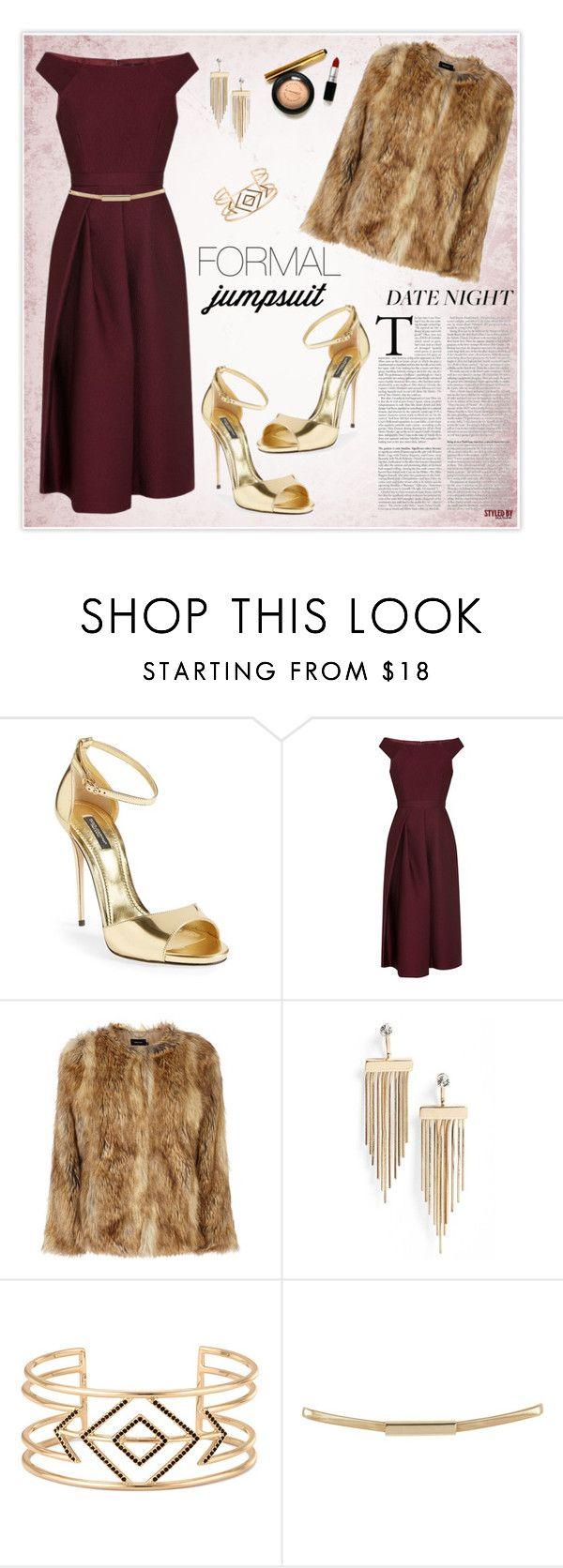 """Date Night: Jumpsuit Style"" by marion-fashionista-diva-miller ❤ liked on Polyvore featuring moda, Dolce&Gabbana, TIBI, Karen Millen, Topshop, Stella & Dot, DateNight, jumpsuit, fur e goldsandals"