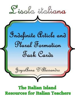 Do you need an interesting way  to practice Italian Indefinite article and Forming PluralsHere are 36 task cards with answer key to help you do just that. Zip File includes PDF of cards as four to a page, Powerpoint of Cards, Powerpoint of Card Answers.