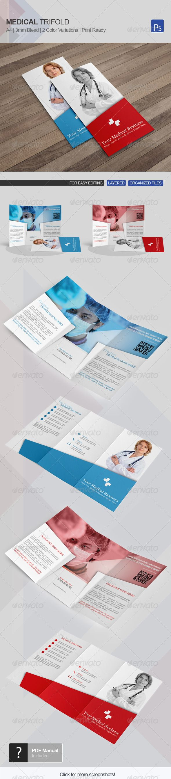 Medical Trifold Template 11  #GraphicRiver         Medical Trifold