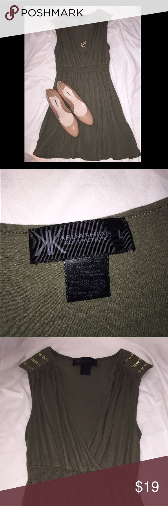 Kardashian Kollection Army Green Dress Size L Military gold shoulder detail, deep V neck. Great army green color, dress goes great with nude. Make an offer. Kardashian Kollection Dresses