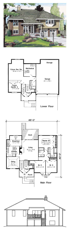 49 best hillside home plans images on pinterest house for Hillside cabin plans