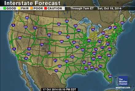 weather.com - Driving - Region Check road conditions along any major interstate. Even coordinate expected conditions with weather forecasts.