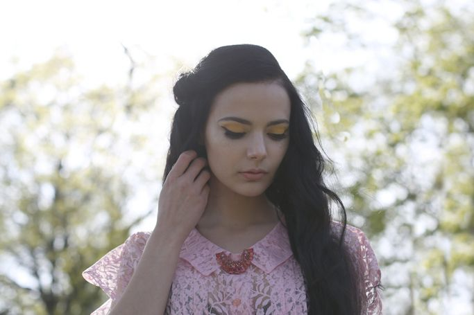 EVIG VINTAGE SS14 lookbook - 50s pink lace blouse ///   Model - Barbro Andersen Photo - Lisa Lindoe Hair and Make up - Karoline K Edquist Styling - Eirin Pedersen
