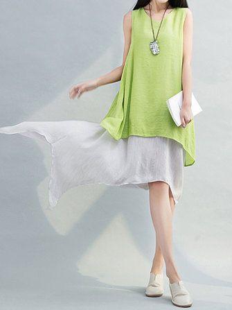 Only US$21.89 , shop Women Sleeveless Fake Two Pieces Irregular Vintage Dresses at Banggood.com. Buy fashion Vintage Dresses online.