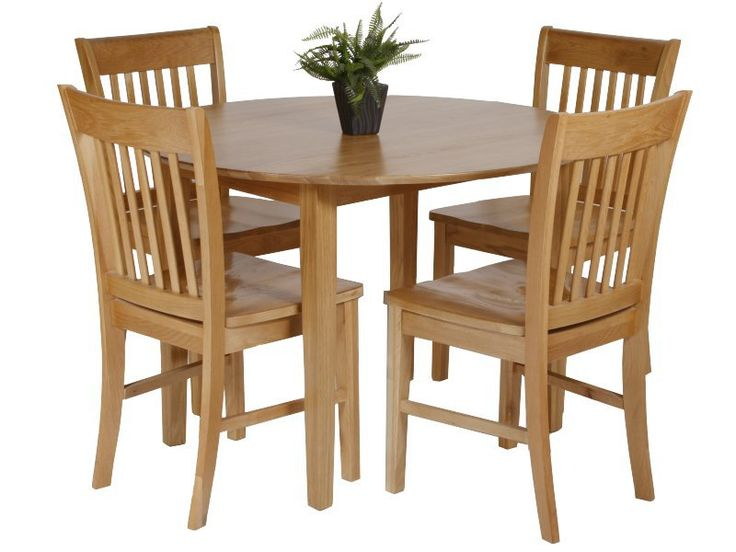 Utah oak dining set with round drop leaf table chairs