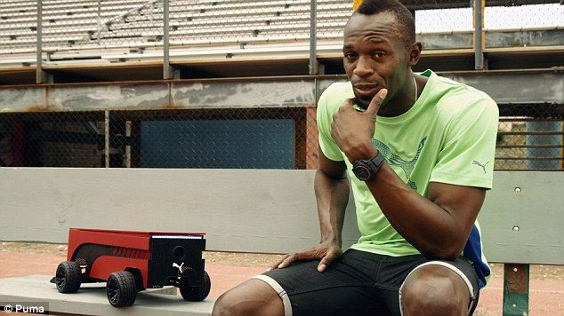 BEATBOT by Puma, the training robot of Usain Bolt, can go as fast as an olympic sprinter according to the programmed speed.