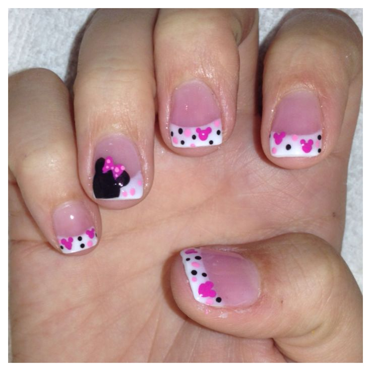 Freehand Minnie Mouse Nail art on Mini Pink and White acrylics I did on a client today