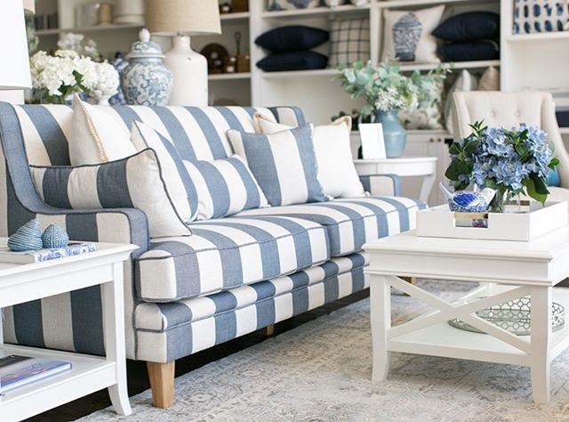 Sofa Style Taking The Shape Of A Classic Style And Infusing It With A Modern Fabric The Denim C Hamptons Style Living Room Sofa Styling Striped Furniture