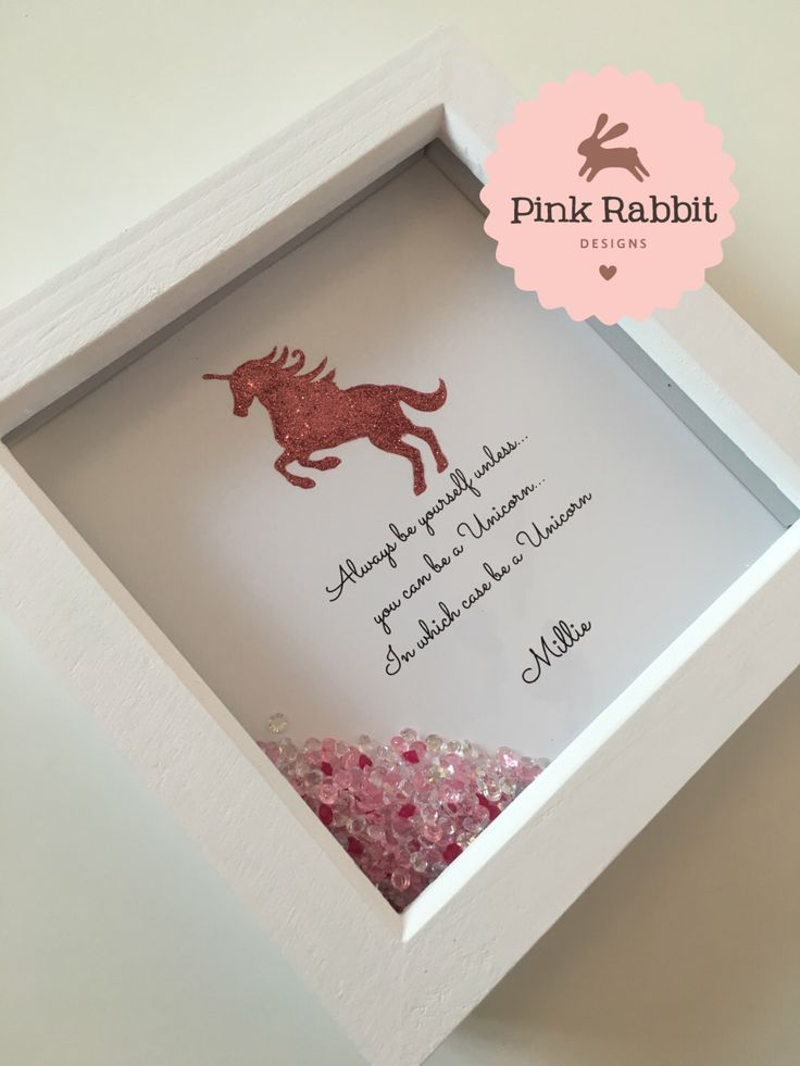 A personal favourite from my Etsy shop https://www.etsy.com/uk/listing/261984633/framed-glitter-unicorn-picture-always-be