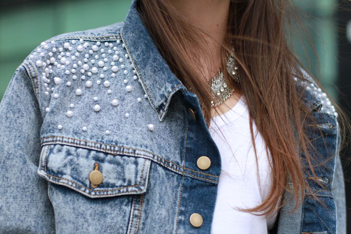 denmin jacket with pearls on jacket.