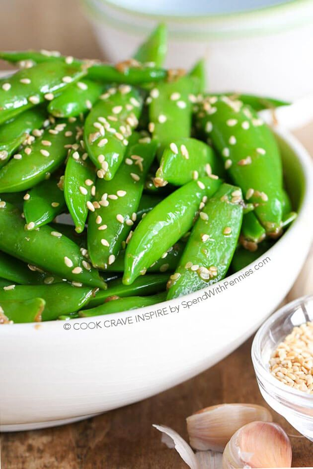 Sesame Ginger Snap Peas!  A quick and easy Asian inspired side dish.  This is ready in about 5 minutes and the perfect side with chicken or salmon! @spendpennies