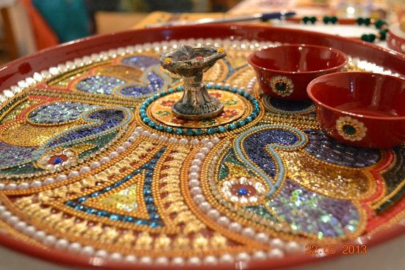 Unique handdecorated pooja thali for indian by for Aarti thali decoration with clay