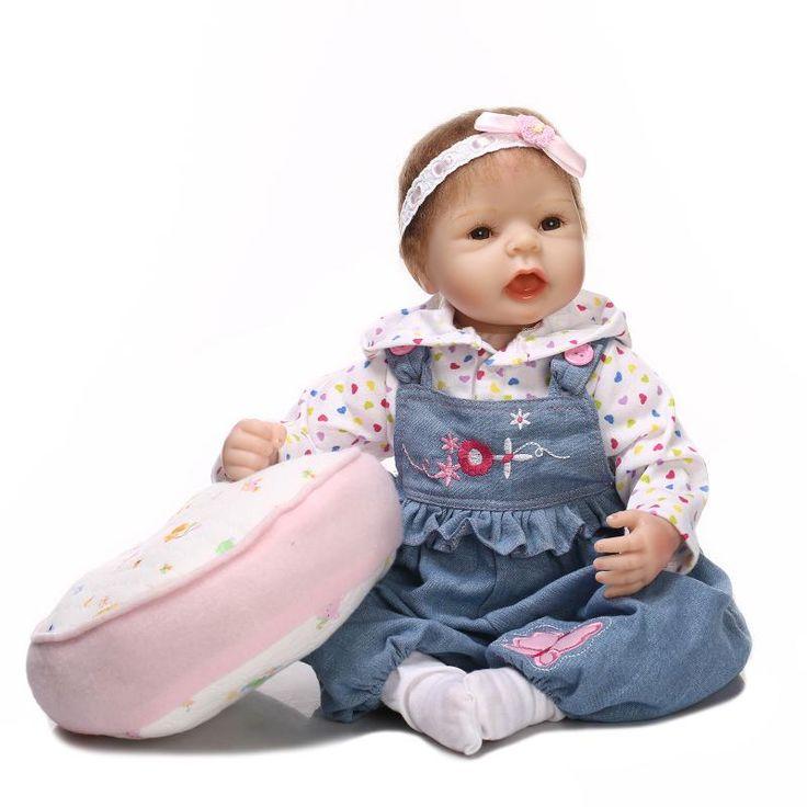55cm / 22 Inch Silicone aniversário Renascer Baby Doll Toy realista simulação real Toque menina recém-nascida Babies Criança Presente Bebe Bonecas