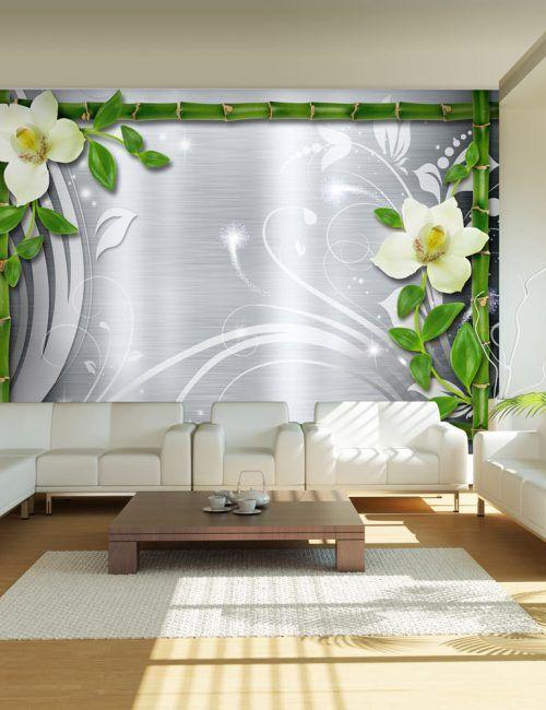 Carta da Parati Bambù e Orchidee Carta da Parati Fotomurale a Tema Natura e Fiori