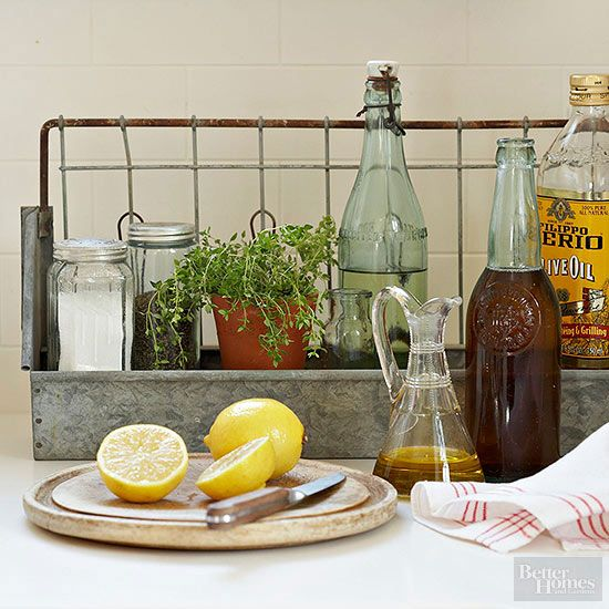 Repurpose a vintage metal caddy or milk crate as a moveable seasoning station. Keep the holder near food prep and cooking zones, then transfer it to the table during meals./