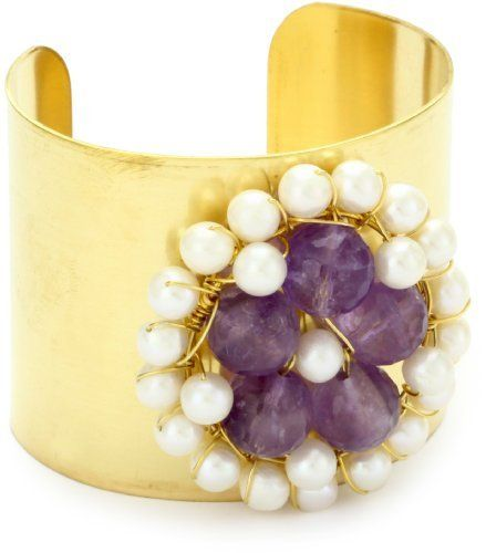 """Amanda Rudey """"Breakfast At Tiffany's"""" Pink Amethyst Erin Cuff Bracelet Amanda Rudey. $160.00. Inspired by beauty and femininity, each Amanda Rudey piece is handmade in the US. Made in United States. A flower of pink amethyst and pearls adorns this thick brass cuff"""