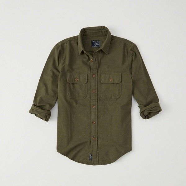 Abercrombie & Fitch Chamois Shirt ($23) ❤ liked on Polyvore featuring men's fashion, men's clothing, men's shirts, men's casual shirts, olive, mens collared shirt, mens curved hem t shirt, mens chamois shirts and olive green mens shirt