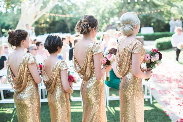 Gold sequin low back bridesmaid dresses   Jessica Grazia Mangia Photography   See more on My Hotel Wedding: https://www.myhotelwedding.com/blog/2016/11/11/north-hollywood-garden-wedding-garland/