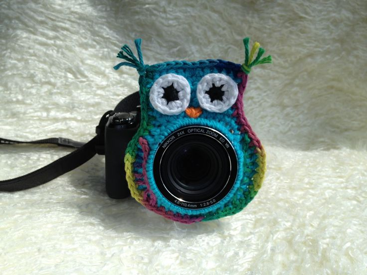 Colorful Owl camera lens buddy with a squeaker behind the face!
