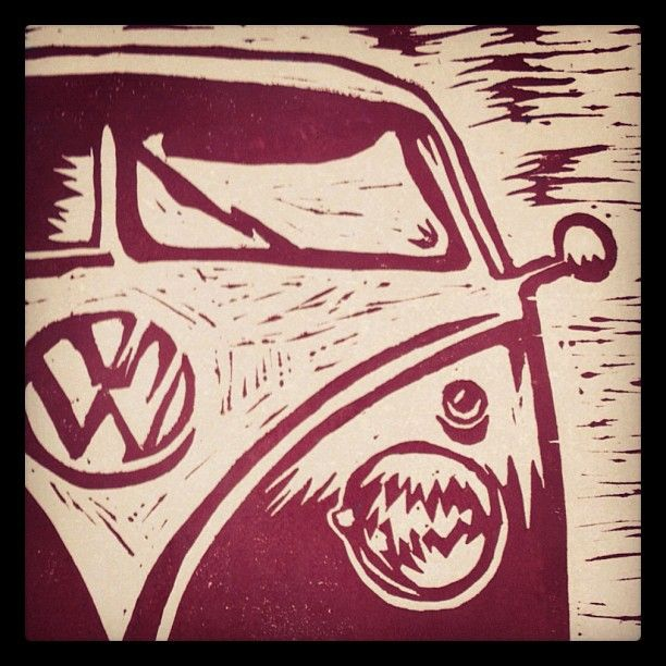 VW Bus Linocut