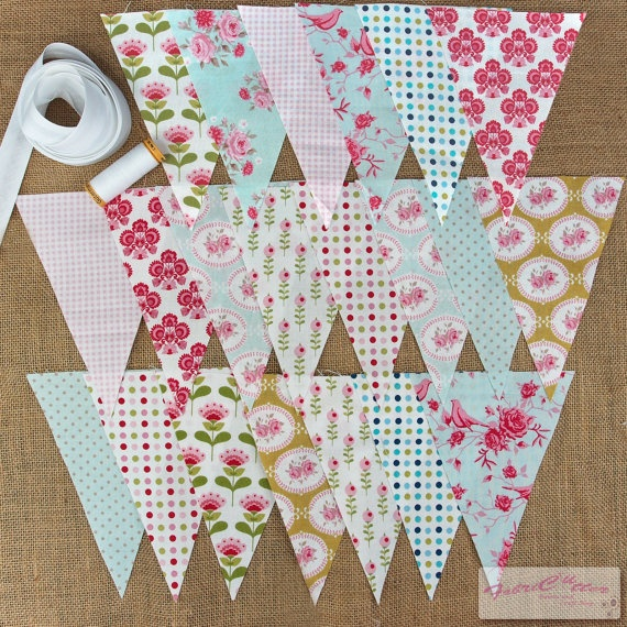 Tilda Bunting Kit / DIY  42 Pre Cut Flags / Thread by FabriClutter, £9.99