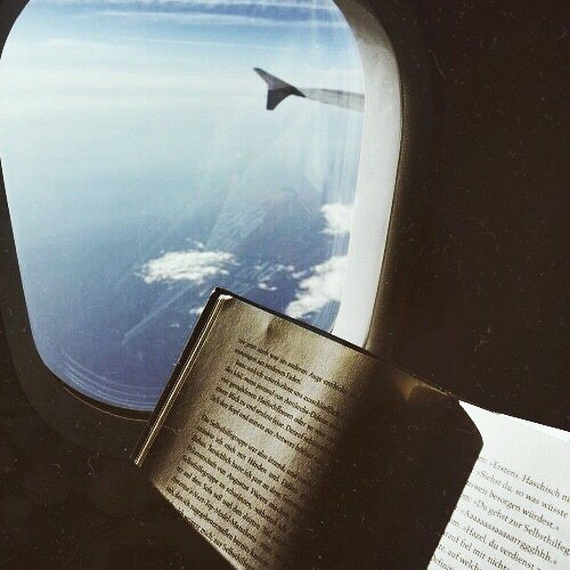 Nothing like catching up on reading in the sky during a long flight.