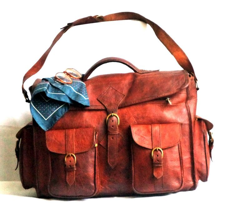 Vintage Hand Crafted Leather Tan Duffel Bag Messenger Travel Weekender Boho Bag | eBay
