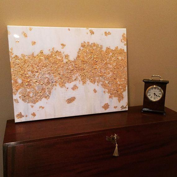 Pan de oro y blanco acrílico pintura por SweetHomeHumidity en Etsy