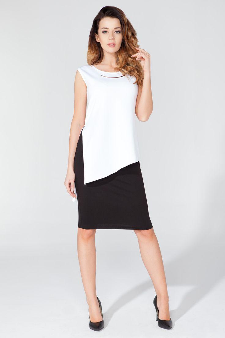 Elegancki zestaw asymetrycznej tuniki z klasyczną spódnicą. Zestaw biały + czarny. http://besima.pl