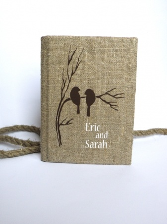Wedding Rustic Guest Book Burlap Linen Wedding Guest Book Bridal Shower Engagement Anniversary Brown Birds On Branch   Recycled Bride