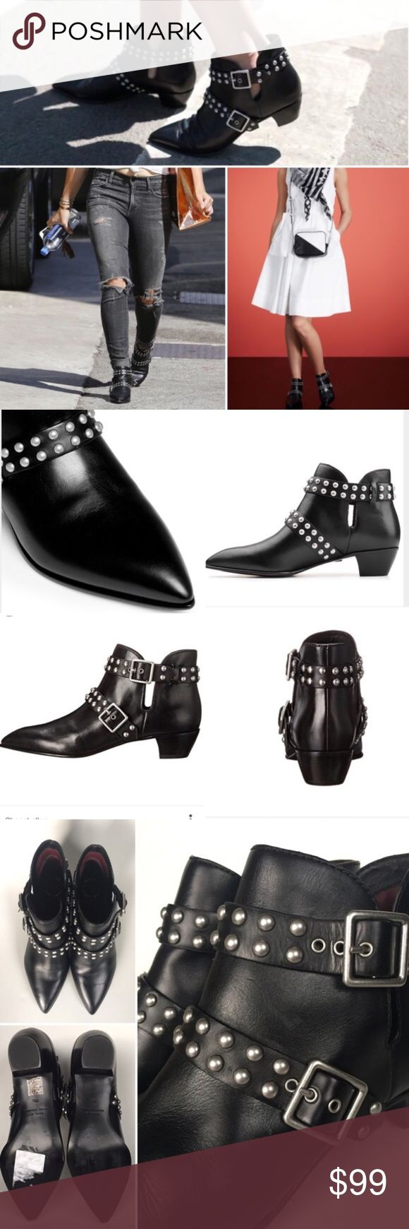 """Marc by Marc Jacob// Studded Leather Booties Supple Italian leather shapes these ankle boots that fuse smart retro-style design with a modern sensibility. Their sleek silhouette, pointy toe and studded straps will sharpen casual wear and add an unexpected bit of attitude to dressier looks. 1 1/2"""" heel with 4"""" boot shaft. Adjustable straps with buckle closures. These were floor model and have practically no signs of wear. Tiny imperfection in the leather in between the straps noted in picture…"""