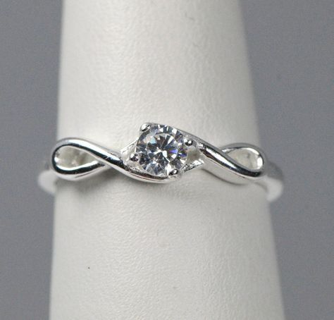 Sterling Silver Infinity CZ Promise Ring Sterling Silver / 6, - Sparkle & Jade - 2 #vintagerings