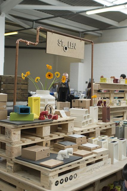 Intense hand built display and signage matches the industrial vibe of this maker's work.