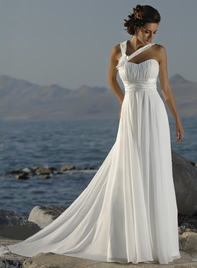 custom made sweetheart chiffon wedding dress with empire waist.....maybe with some added color