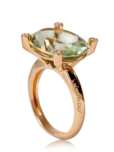ANTONINI - GREEN AMETHYST AND DIAMOND RING - LUISAVIAROMA - LUXURY SHOPPING WORLDWIDE SHIPPING - FLORENCE