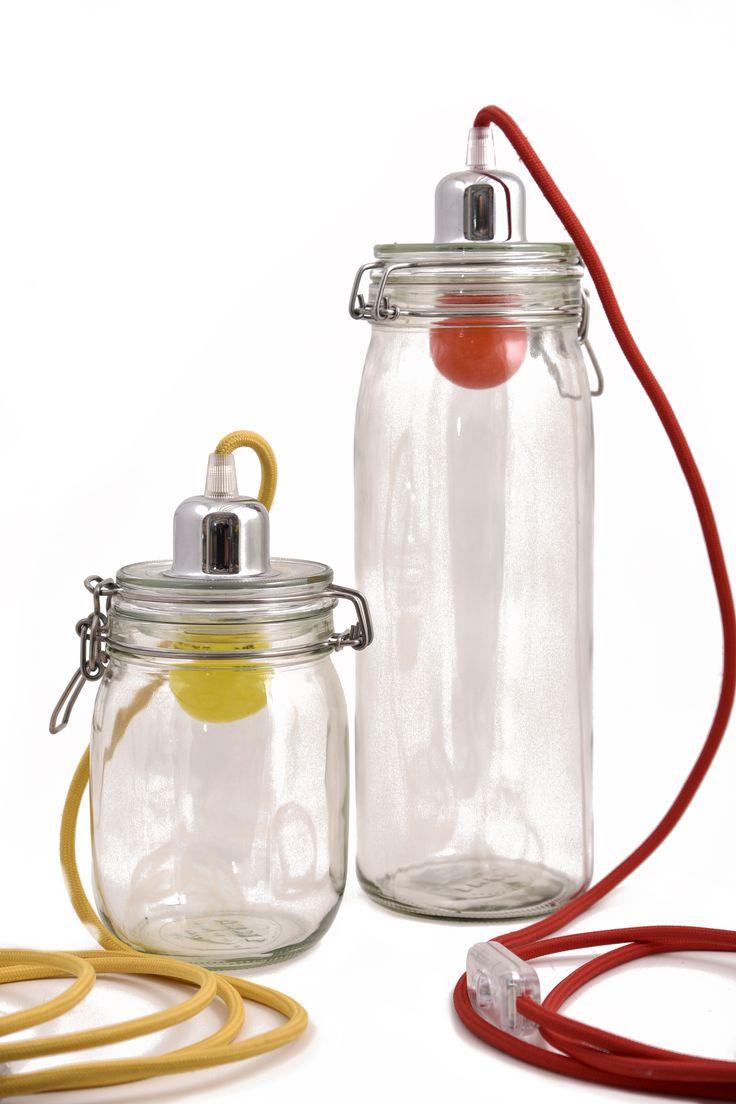 Lampada Bacol Lampada barattolo con lampadina led colorata e filo stoffa colorato